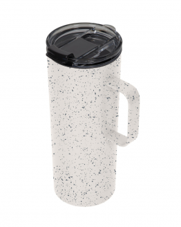 taza alta blanca con chispas